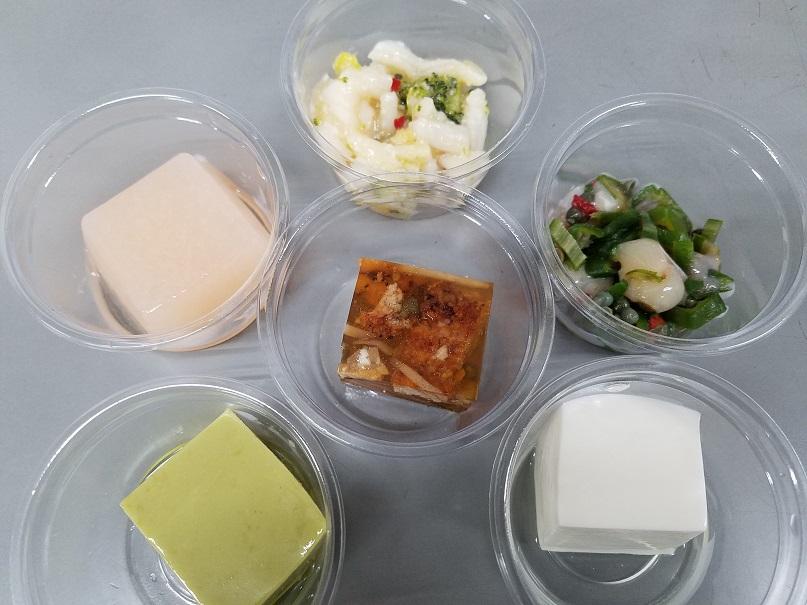 鰻煮こごり、チーズとうふ、白桃ゼリー、etc.